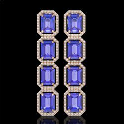 19.39 CTW Tanzanite & Diamond Halo Earrings 10K Rose Gold - REF-418K5W - 41580