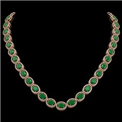 52.15 CTW Emerald & Diamond Halo Necklace 10K Rose Gold - REF-655F3N - 40554