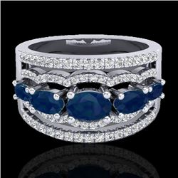 2.25 CTW Sapphire & Micro Pave VS/SI Diamond Designer Ring 10K White Gold - REF-71N3Y - 20804