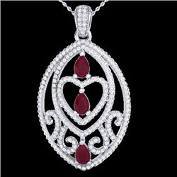 3.50 CTW Ruby & Micro Pave VS/SI Diamond Heart Necklace 18K White Gold - REF-218N2Y - 21292