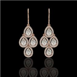 5.22 CTW Pear Diamond Designer Earrings 18K Rose Gold - REF-969K6W - 42774