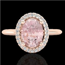 1.50 CTW Morganite & Micro VS/SI Diamond Ring Solitaire Halo 14K Rose Gold - REF-50T4M - 21014