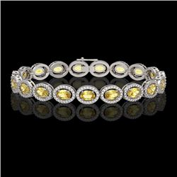 12.73 CTW Fancy Citrine & Diamond Halo Bracelet 10K White Gold - REF-226M9H - 40493