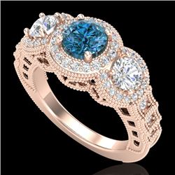 2.16 CTW Intense Blue Diamond Solitaire Art Deco 3 Stone Ring 18K Rose Gold - REF-270F9N - 37671
