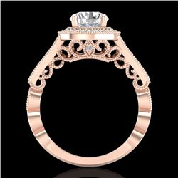 1.91 CTW VS/SI Diamond Solitaire Art Deco Ring 18K Rose Gold - REF-543T6M - 36975
