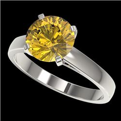 2.50 CTW Certified Intense Yellow SI Diamond Solitaire Ring 10K White Gold - REF-579N2Y - 33047