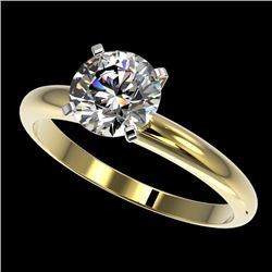 1.57 CTW Certified H-SI/I Quality Diamond Solitaire Engagement Ring 10K Yellow Gold - REF-400A2X - 3