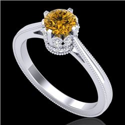 0.81 CTW Intense Fancy Yellow Diamond Engagement Art Deco Ring 18K White Gold - REF-127X3T - 37336