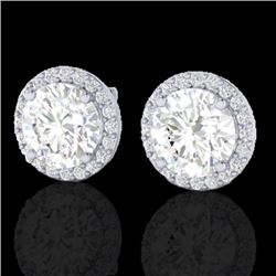 3.50 CTW Halo VS/SI Diamond Micro Pave Earrings Solitaire 18K White Gold - REF-942A5X - 21489