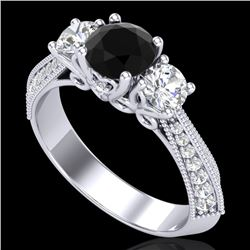 1.81 CTW Fancy Black Diamond Solitaire Art Deco 3 Stone Ring 18K White Gold - REF-180A2X - 38024