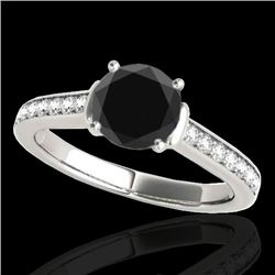 1.5 CTW Certified VS Black Diamond Solitaire Ring 10K White Gold - REF-70F2N - 34928