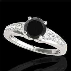 1.4 CTW Certified VS Black Diamond Solitaire Ring 10K White Gold - REF-64H8A - 34999