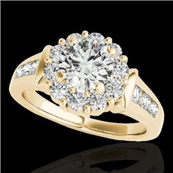 1.9 CTW H-SI/I Certified Diamond Solitaire Halo Ring 10K Yellow Gold - REF-206X4T - 34294