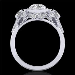2.11 CTW VS/SI Diamond Solitaire Art Deco 3 Stone Ring 18K White Gold - REF-472K8W - 37328