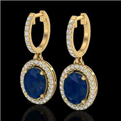 4.25 CTW Sapphire & Micro Pave VS/SI Diamond Earrings Halo 18K Yellow Gold - REF-118X2T - 20334