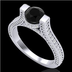 2 CTW Fancy Black Diamond Solitaire Engagement Micro Pave Ring 18K White Gold - REF-160N2Y - 37618