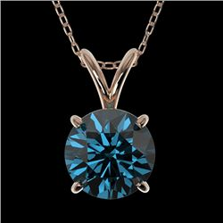 1.25 CTW Certified Intense Blue SI Diamond Solitaire Necklace 10K Rose Gold - REF-240H2A - 33208