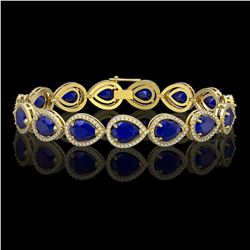 30.06 CTW Sapphire & Diamond Halo Bracelet 10K Yellow Gold - REF-344N2Y - 41242