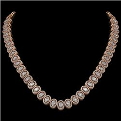 34.72 CTW Oval Diamond Designer Necklace 18K Rose Gold - REF-6267X8T - 42759