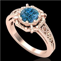 1 CTW Intense Blue Diamond Solitaire Engagement Art Deco Ring 18K Rose Gold - REF-200A2X - 37447