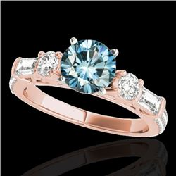 2 CTW Si Certified Fancy Blue Diamond Pave Solitaire Ring 10K Rose Gold - REF-221A8X - 35477