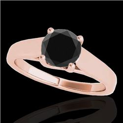 1 CTW Certified VS Black Diamond Solitaire Ring 10K Rose Gold - REF-42K4W - 35529