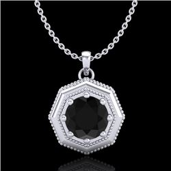 0.75 CTW Fancy Black Diamond Solitaire Art Deco Stud Necklace 18K White Gold - REF-44H5A - 37940