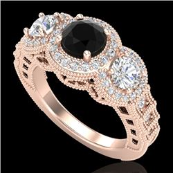 2.16 CTW Fancy Black Diamond Solitaire Art Deco 3 Stone Ring 18K Rose Gold - REF-254X5T - 37668