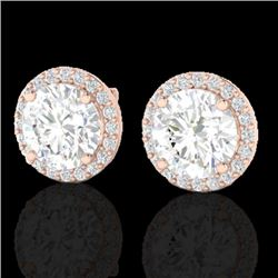3.50 CTW Halo VS/SI Diamond Micro Pave Earrings Solitaire 14K Rose Gold - REF-936X5T - 21488