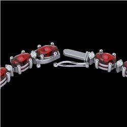 33 CTW Garnet & VS/SI Diamond Eternity Tennis Necklace 10K White Gold - REF-149H3A - 21595