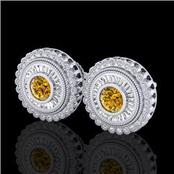 2.61 CTW Intense Fancy Yellow Diamond Art Deco Stud Earrings 18K White Gold - REF-300H2A - 37910