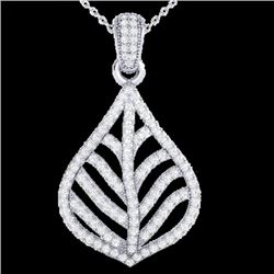 1.25 CTW Micro Pave VS/SI Diamond Necklace Designer 18K White Gold - REF-114A8X - 21285