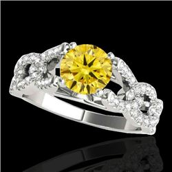 1.5 CTW Certified Si/I Fancy Intense Yellow Diamond Solitaire Ring 10K White Gold - REF-180T2M - 352