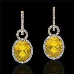 6 CTW Citrine & Micro Pave Solitaire Halo VS/SI Diamond Earrings 14K Yellow Gold - REF-98A2X - 22733