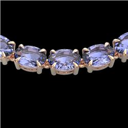 56 CTW Tanzanite Eternity Designer Inspired Tennis Necklace 14K Rose Gold - REF-631W3F - 23410