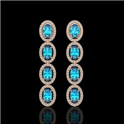 6.28 CTW Swiss Topaz & Diamond Halo Earrings 10K Rose Gold - REF-103A6X - 40536