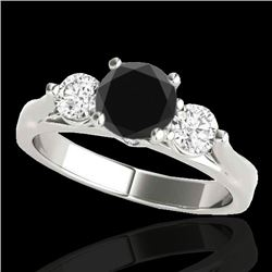 1.5 CTW Certified VS Black Diamond 3 Stone Ring 10K White Gold - REF-92H2A - 35370