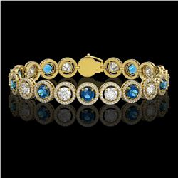 13.56 CTW Blue & White Diamond Designer Bracelet 18K Yellow Gold - REF-3235M5H - 42592
