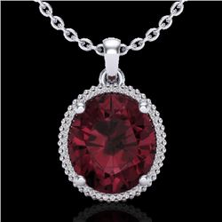 11 CTW Garnet & Micro Pave VS/SI Diamond Halo Necklace 18K White Gold - REF-70Y9K - 20612
