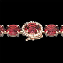 27 CTW Pink Tourmaline & VS/SI Diamond Tennis Micro Halo Bracelet 14K Rose Gold - REF-292F5N - 23436