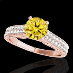 1.41 CTW Certified Si Intense Yellow Diamond Solitaire Antique Ring 10K Rose Gold - REF-176A4X - 347