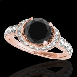 1.75 CTW Certified VS Black Diamond Solitaire Halo Ring 10K Rose Gold - REF-86F4N - 34454