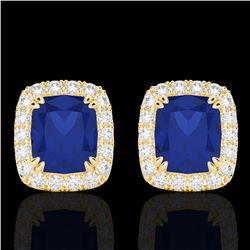 2.50 CTW Sapphire & Micro Pave VS/SI Diamond Halo Earrings 10K Yellow Gold - REF-49A3X - 22871