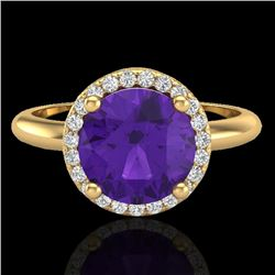 2 CTW Amethyst & Micro Pave VS/SI Diamond Ring Halo 18K Yellow Gold - REF-58K4W - 23205