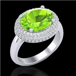 4.50 CTW Peridot & Micro Pave VS/SI Diamond Ring 18K White Gold - REF-116H2A - 20920