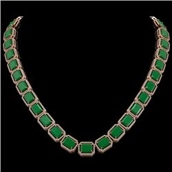 84.94 CTW Emerald & Diamond Halo Necklace 10K Rose Gold - REF-1000M5H - 41475