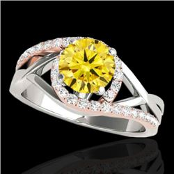 1.8 CTW Certified Si Intense Diamond Bypass Solitaire Ring 10K White & Rose Gold - REF-272N8Y - 3509