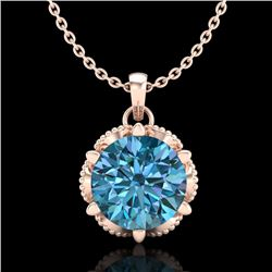 1.36 CTW Fancy Intense Blue Diamond Solitaire Art Deco Necklace 18K Rose Gold - REF-180H2A - 38105