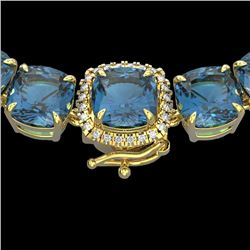 87 CTW London Blue Topaz & VS/SI Diamond Halo Micro Necklace 14K Yellow Gold - REF-317F6N - 23369