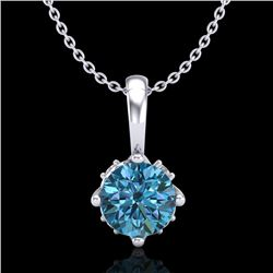 0.62 CTW Fancy Intense Blue Diamond Solitaire Art Deco Necklace 18K White Gold - REF-67X3T - 37796